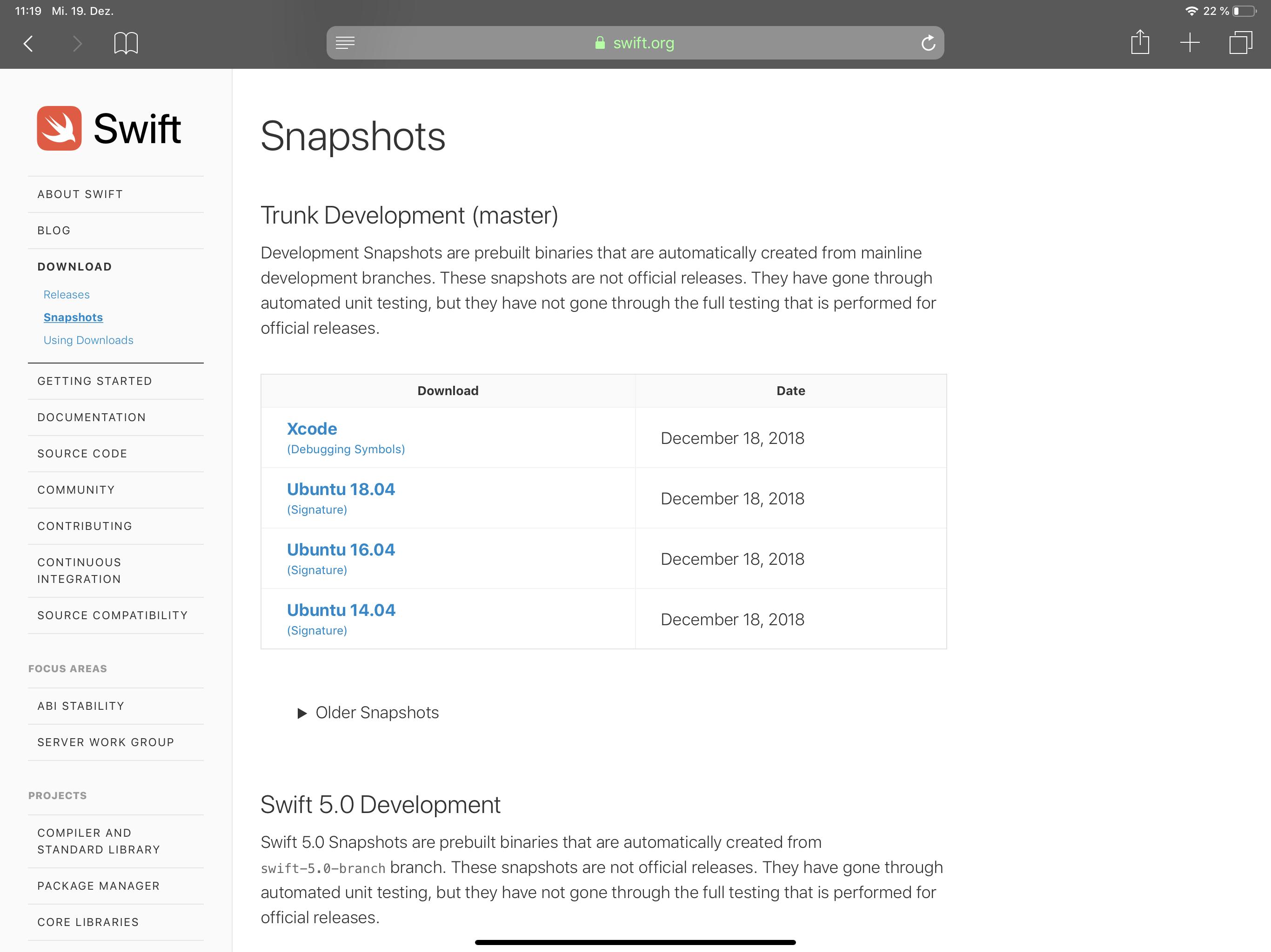 Aktuelle Snapshots stehen auf Swift.org zum Download bereit.