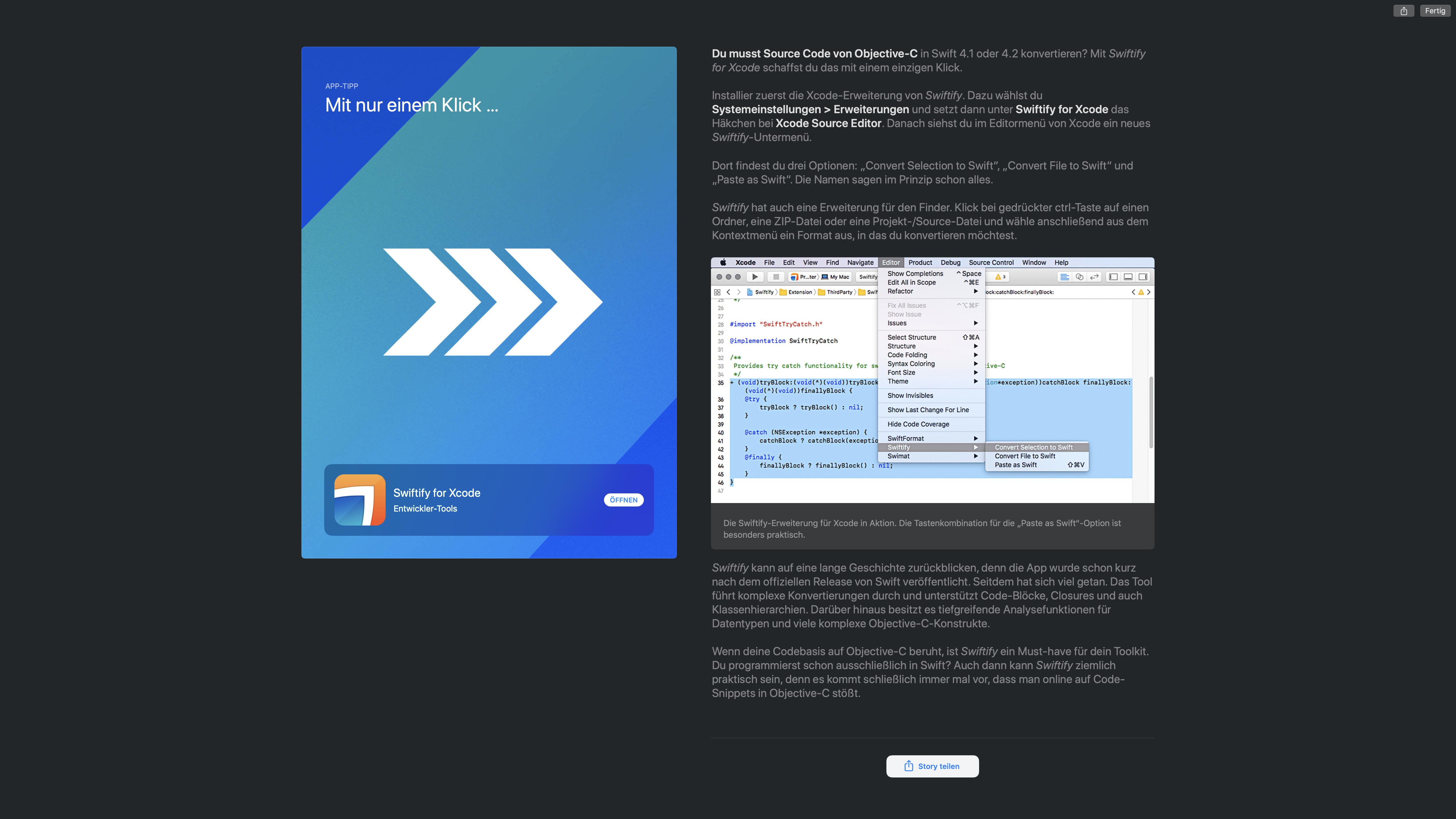 Swiftify ist ein eigener Artikel im Mac App Store gewidmet.