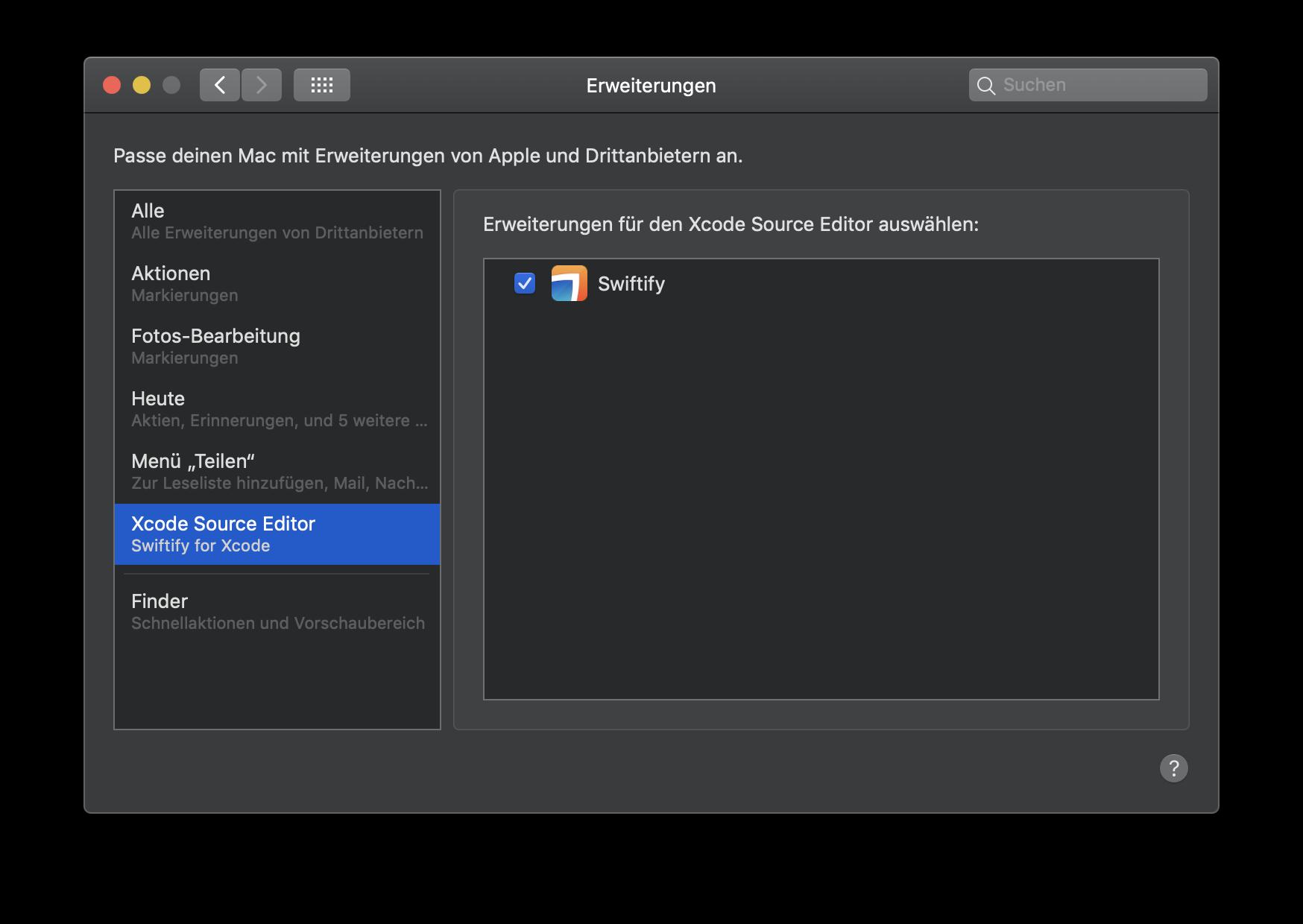 Nach der Installation von Swiftify auf dem Mac muss die Extension noch in den Systemeinstellungen von macOS aktiviert werden.