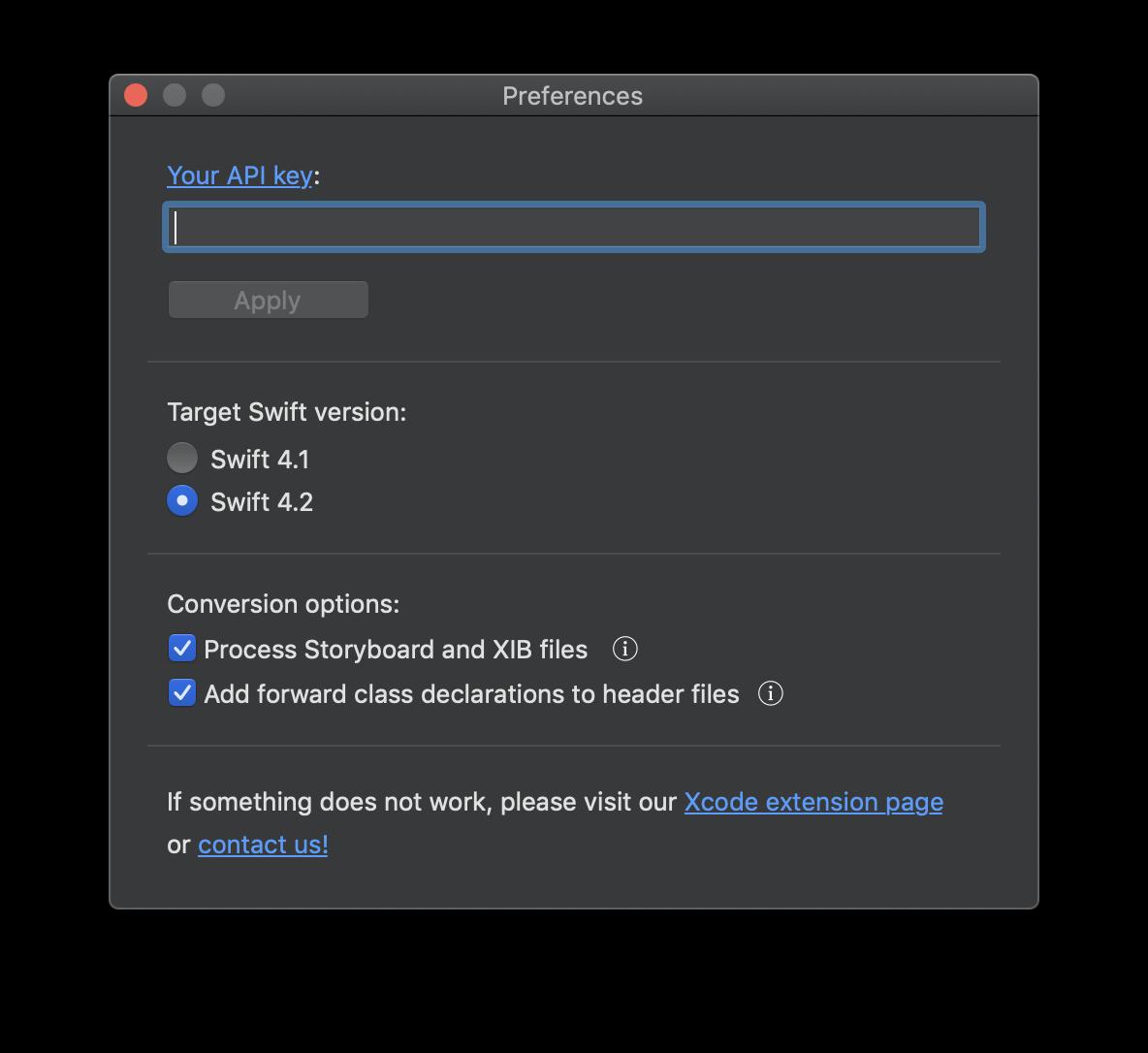 Den API-Key trägt man direkt in das dafür vorgesehen Feld innerhalb der Swiftify-App ein.