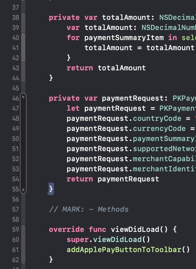Die hervorgehobenen grauen Blöcke am linken Rand des Editors stellen die Bereiche dar, in denen ein Code-Block eingeklappt werden kann.