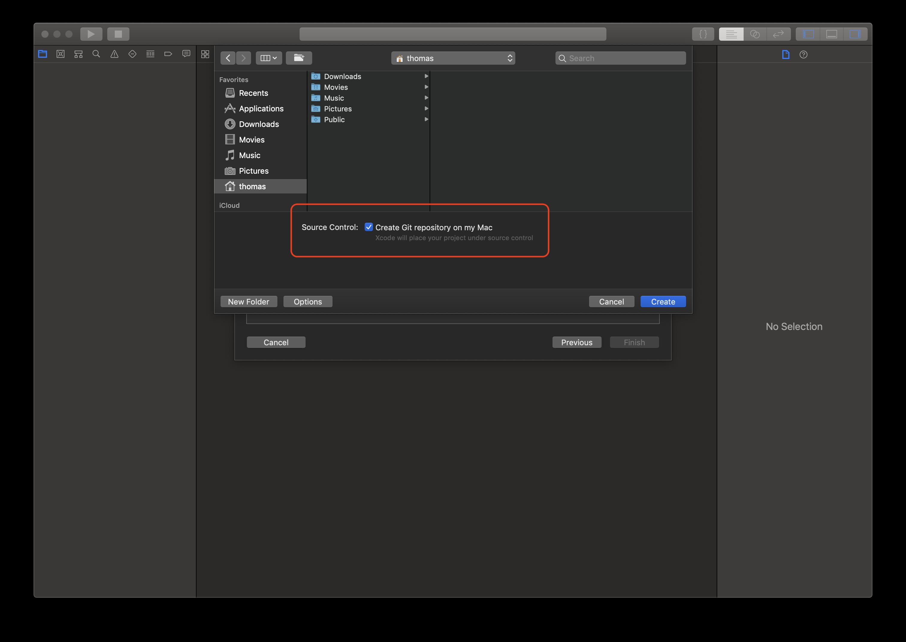 Über die hervorgehobene Checkbox lässt sich ein neues Xcode-Projekt direkt mit einem zugehörigen Git-Repository erstellen.