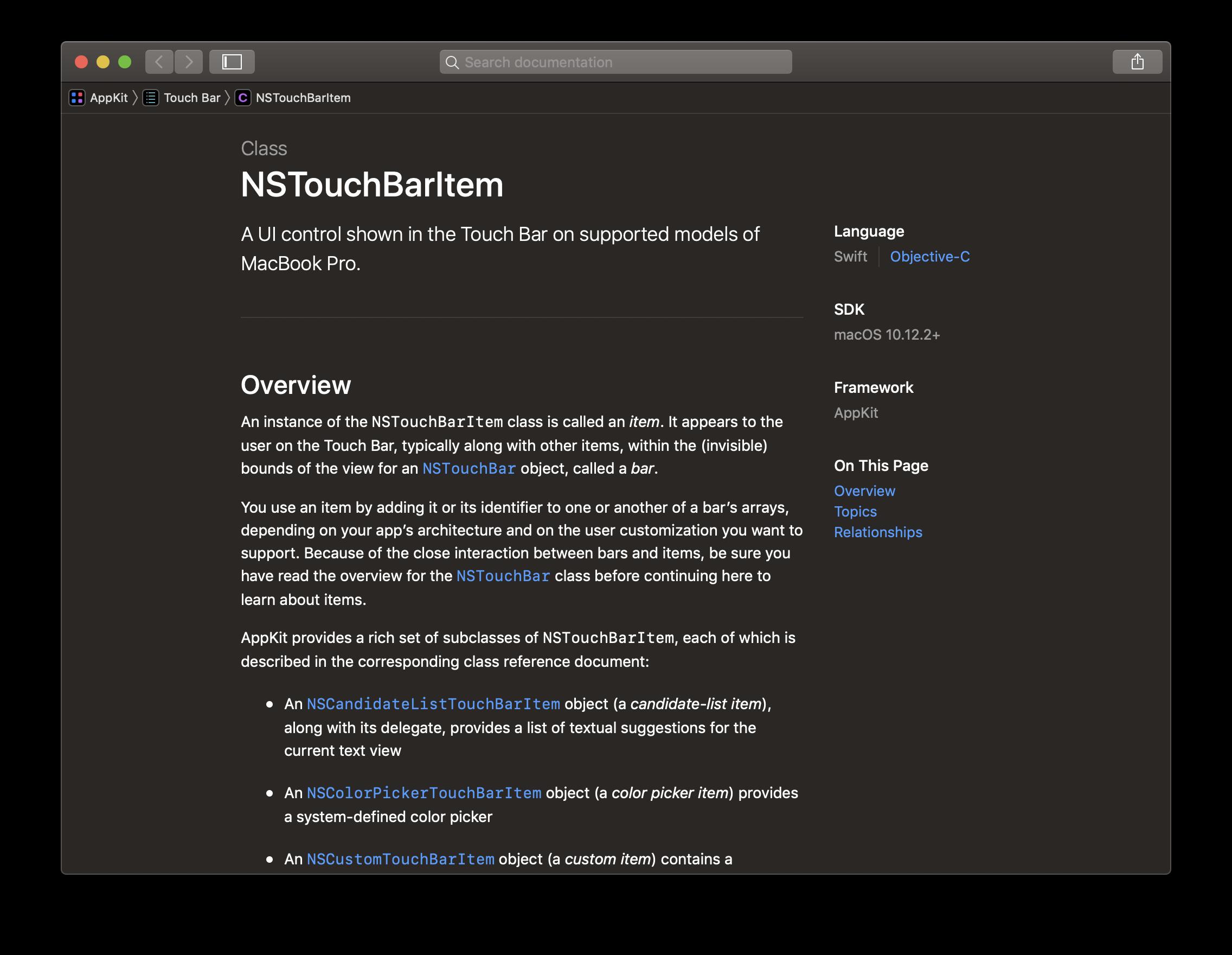 Die Klasse NSTouchBarItem stellt die Basis für alle Elemente dar, die innerhalb der Touch-Bar angezeigt werden.