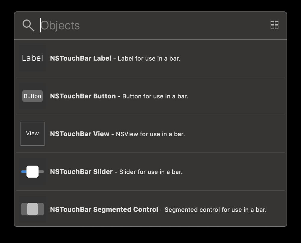 Die Objects Library von Xcode enthält bereits einige vorkonfigurierte Touch-Bar-Item-Elemente, unter anderem zur Nutzung von Labels oder Buttons.