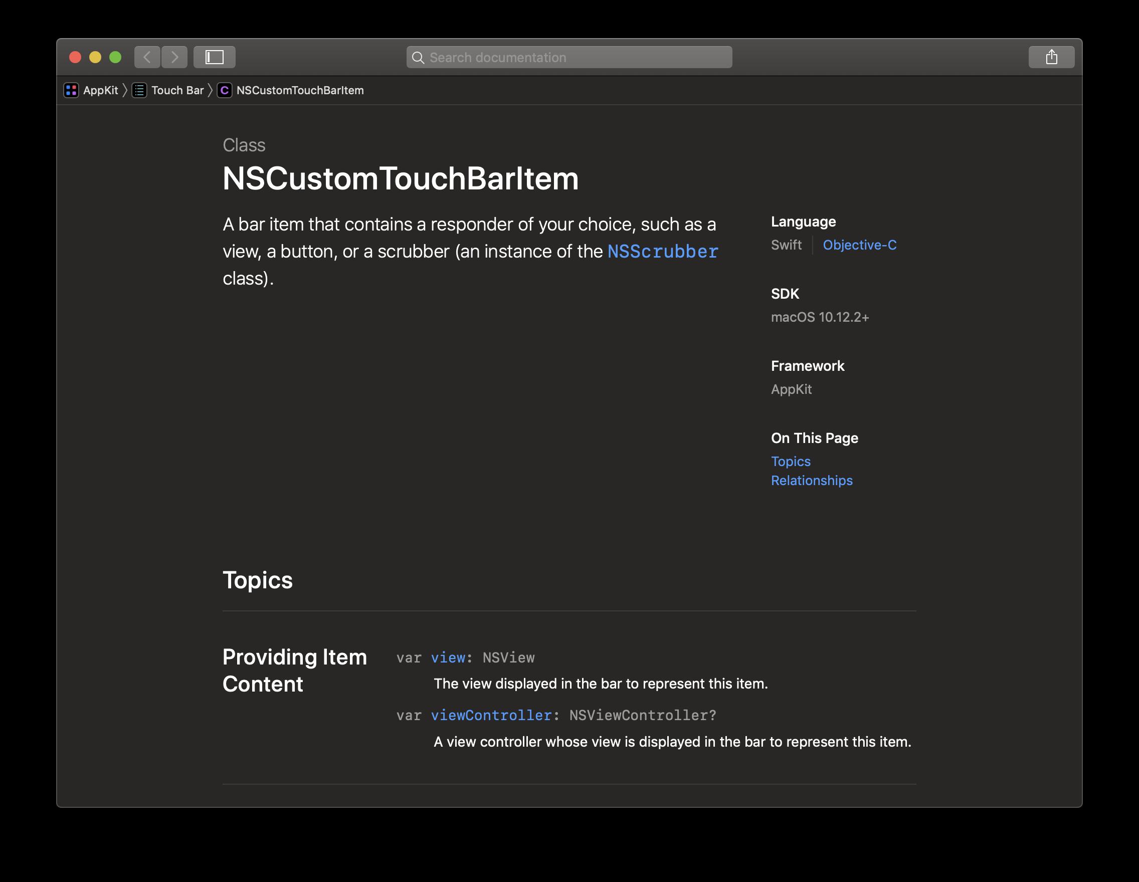 Mithilfe der Klasse NSCustomTouchBarItem erzeugt man ein Touch-Bar-Item-Element und verknüpft es mit einer beliebigen View, beispielsweise einem Button oder einem Label.