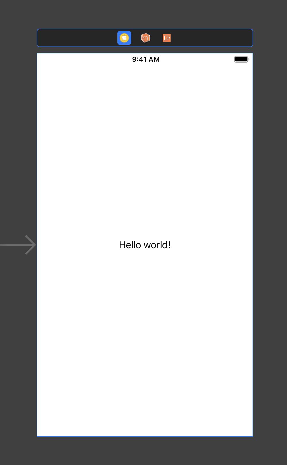 Die Beispiel-App verfügt über ein Label, dessen Text bereits in der Development Language Englisch passend übersetzt ist.