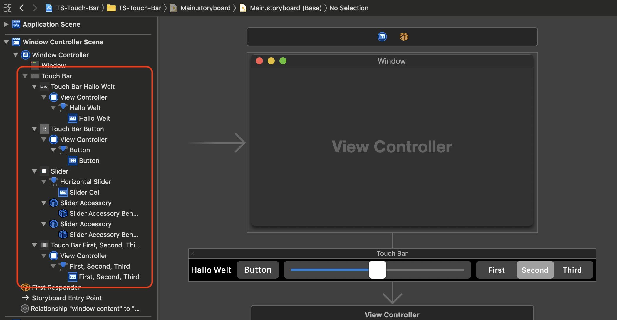 Jedes der hier gezeigten Touch-Bar-Item-Elemente besitzt eine aus der macOS-Entwicklung bekannte View-Klasse wie beispielsweise NSTextField oder NSButton.
