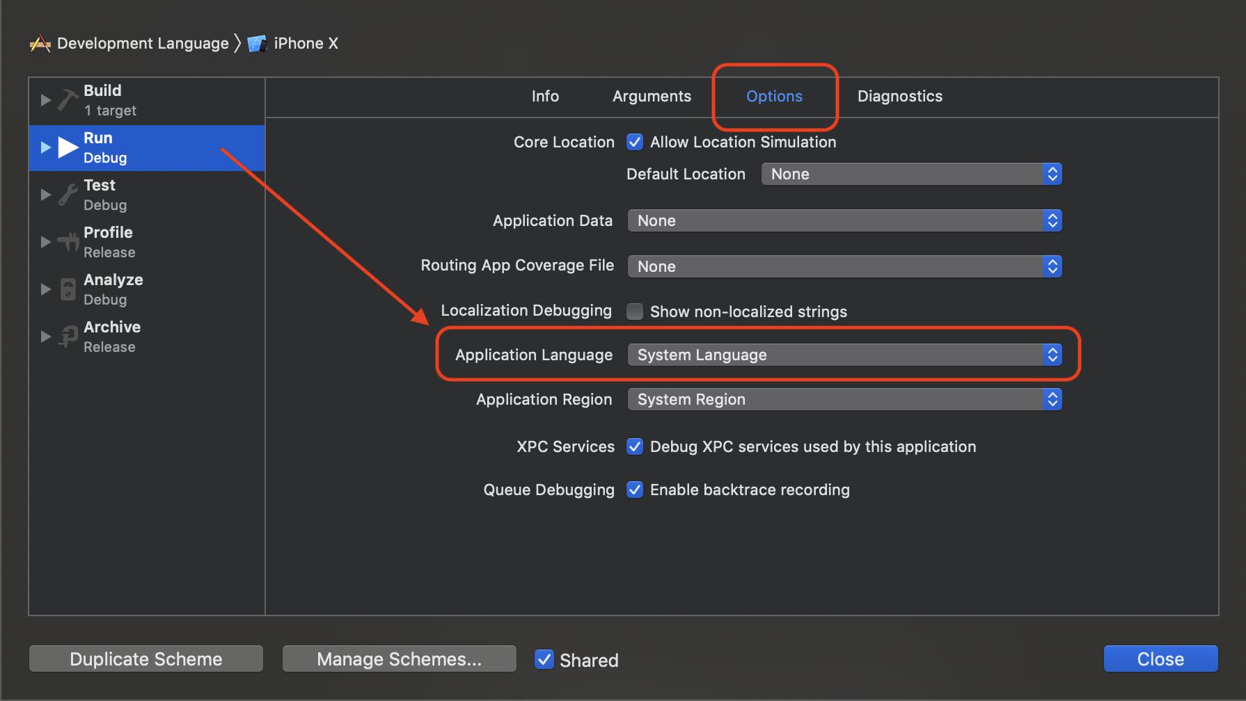 """Über den Punkt """"Application Language"""" lässt sich die Systemsprache ändern, unter der die App bei der Ausführung über Xcode gestartet werden soll."""