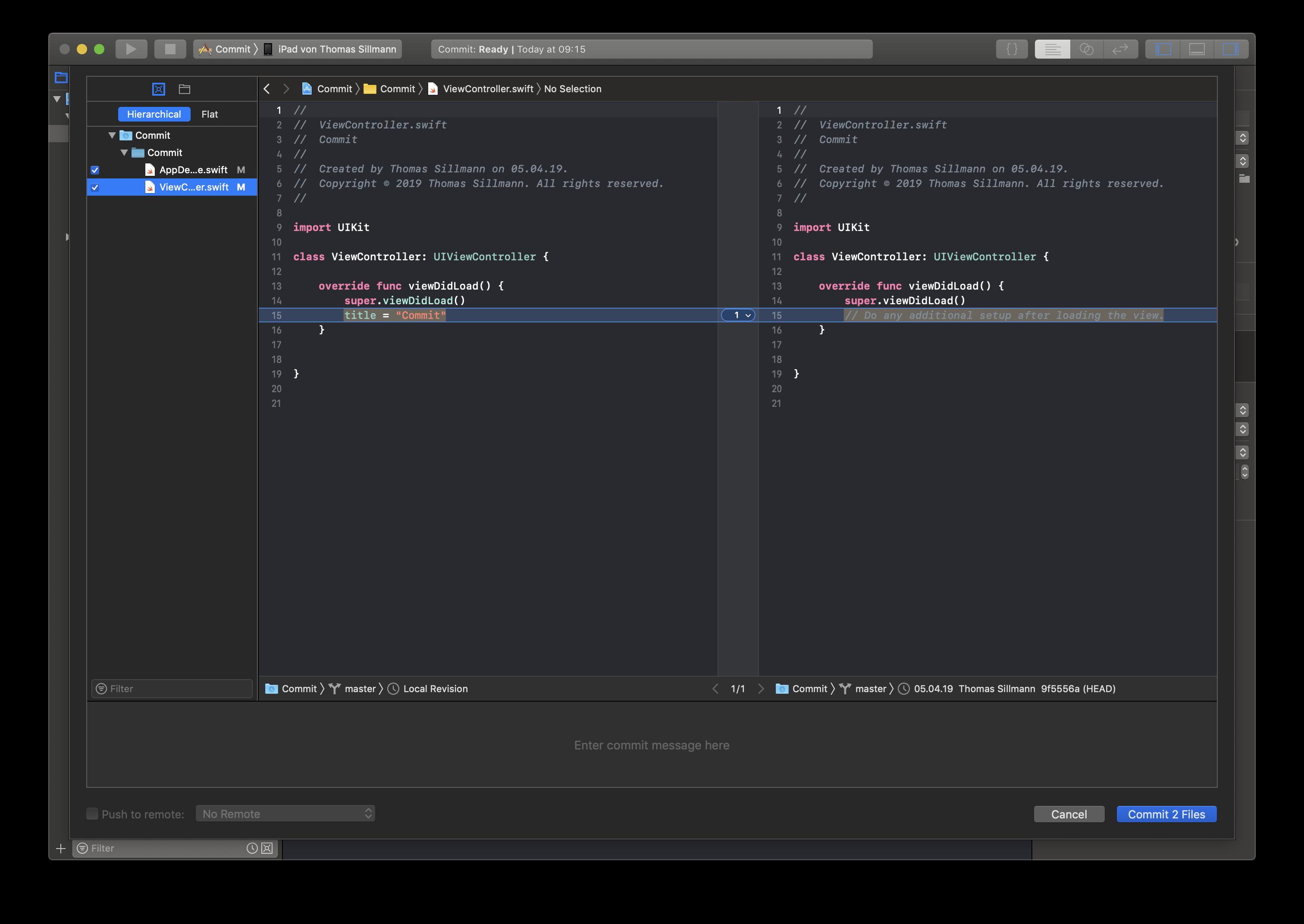 In diesem Fenster listet Xcode all eure Änderungen am zugrundeliegenden Repository auf, die seit dem letzten Commit vorgenommen wurden.