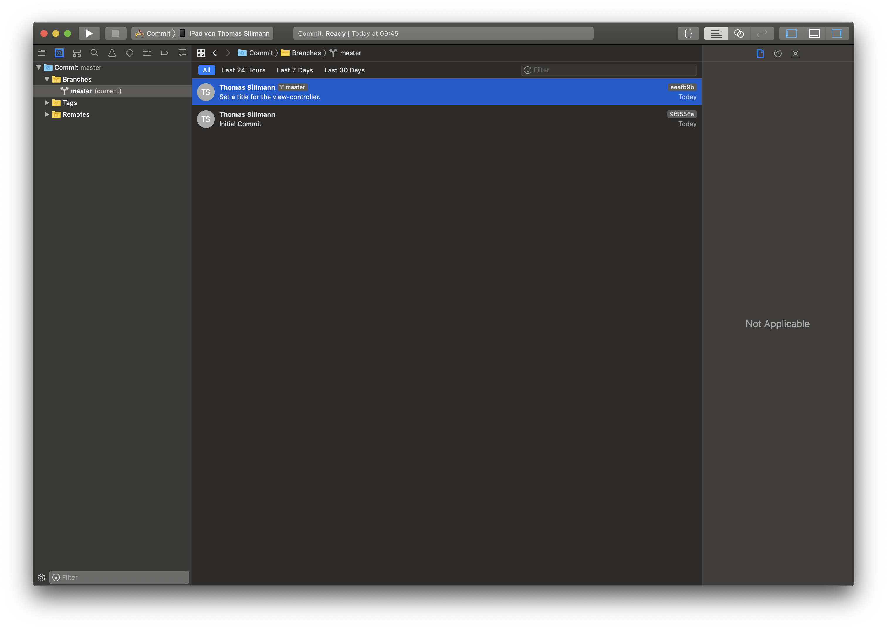 In dieser Ansicht werden die verschiedenen Commits eines Xcode-Projekts aufgeführt.