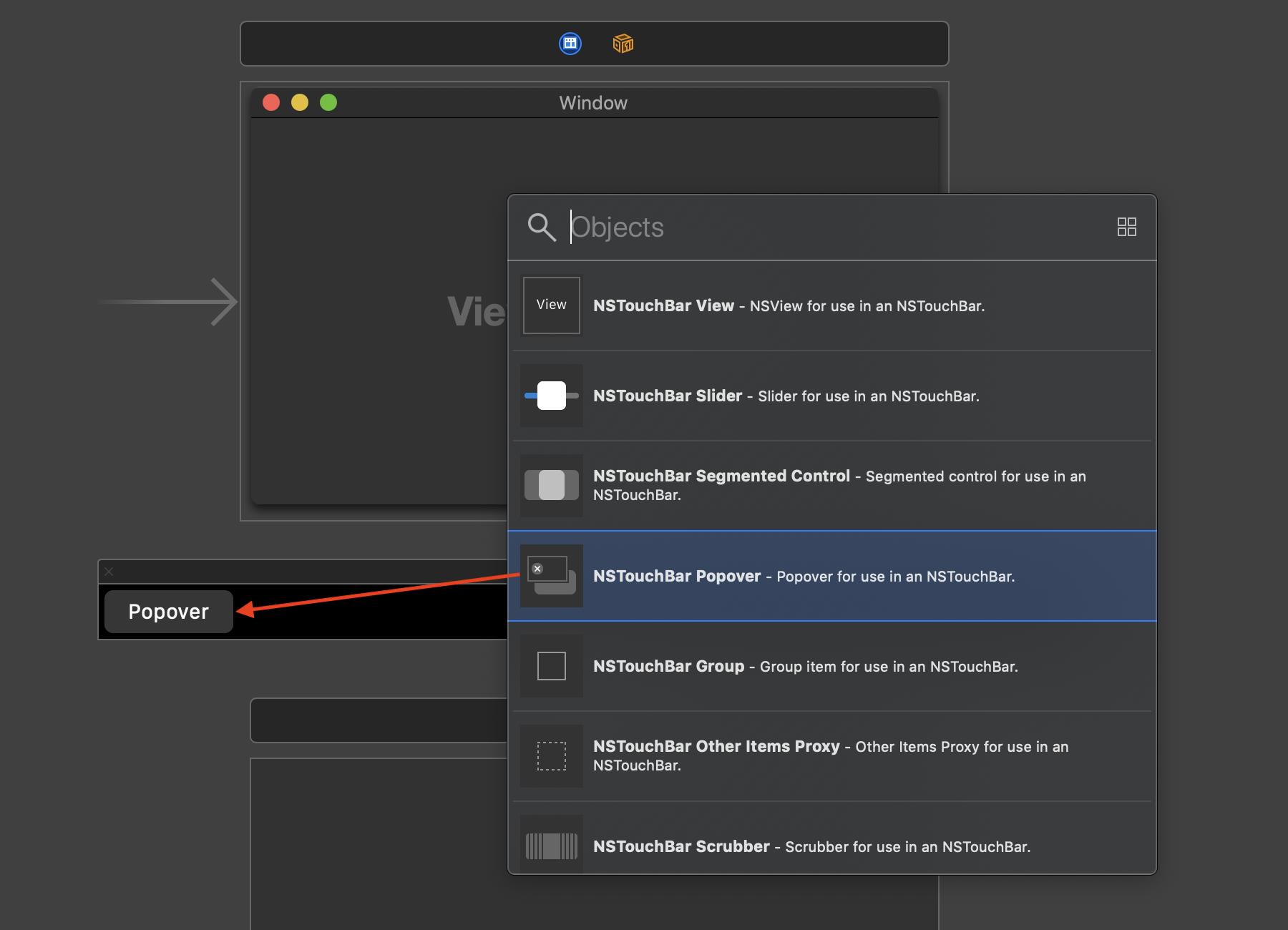 Zum Erstellen eines Popovers zieht ihr einfach das entsprechende Element aus der Objects Library auf die Touch Bar.