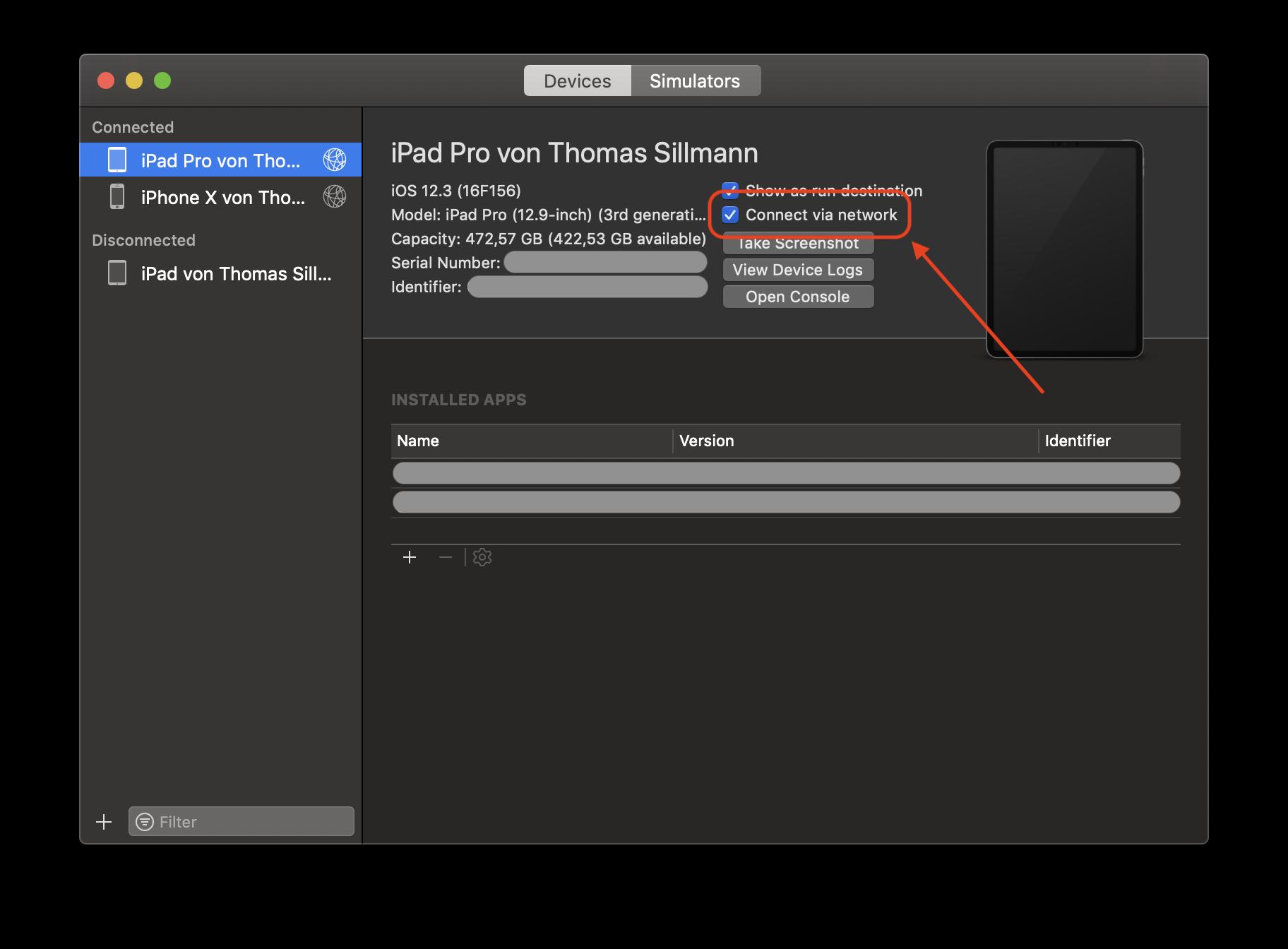 """Über die Checkbox """"Connect via Network"""" könnt ihr iOS-Geräte für die kabellose Kopplung mit Xcode aktivieren."""