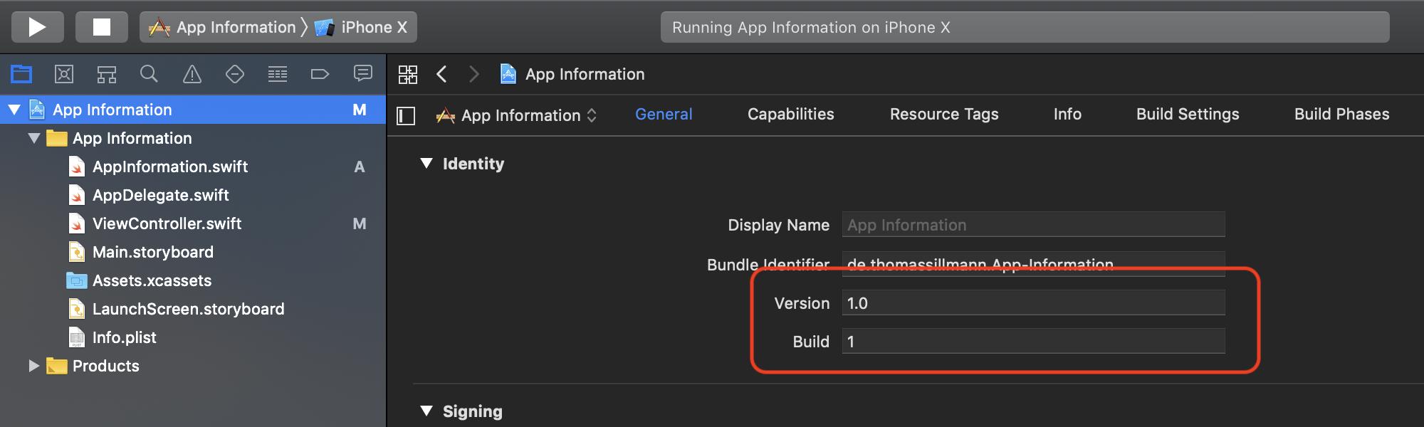 Die Informationen zu Versions- und Build-Nummer werden in den jeweiligen Target-Einstellungen gepflegt.