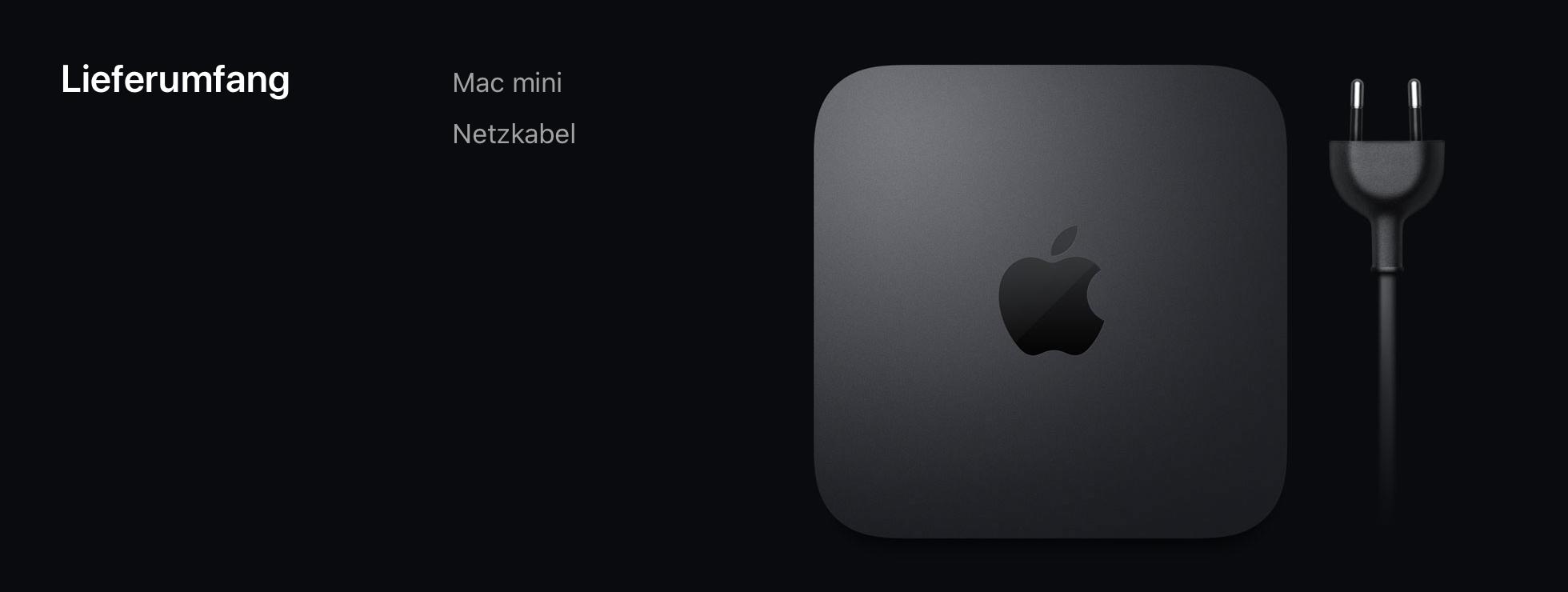 Dem Mac mini liegen weder Maus noch Tastatur bei.