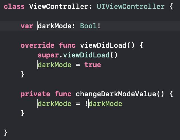 Es wurden mehrere Cursor jeweils vor den Namen der darkMode-Property platziert, um den so an allen betroffenen Stellen auf einmal ändern zu können.