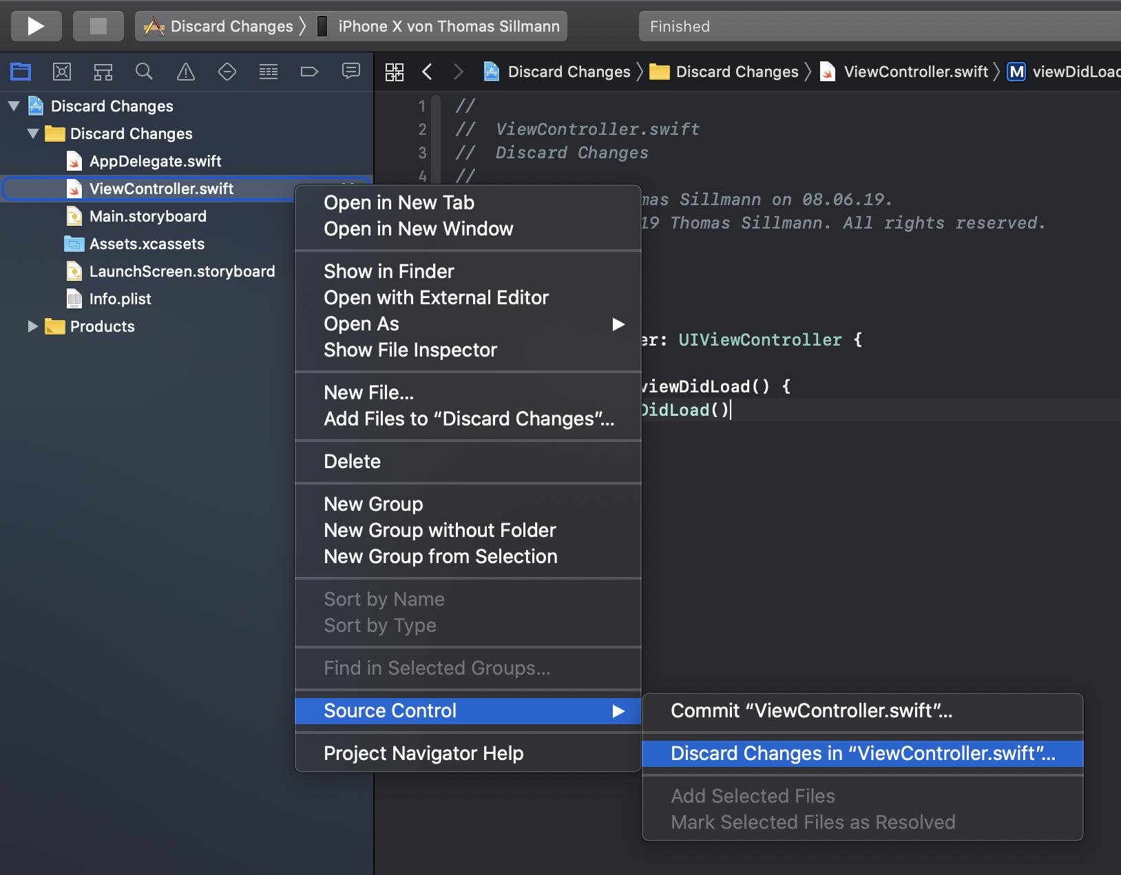 Mithilfe des Kontextmenüs können die Änderungen innerhalb einzelner Dateien verworfen werden.