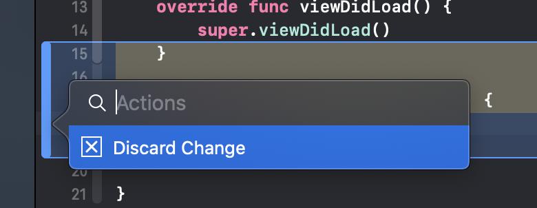 Einzelne Änderungen im Code können über dieses Menü wieder verworfen werden.