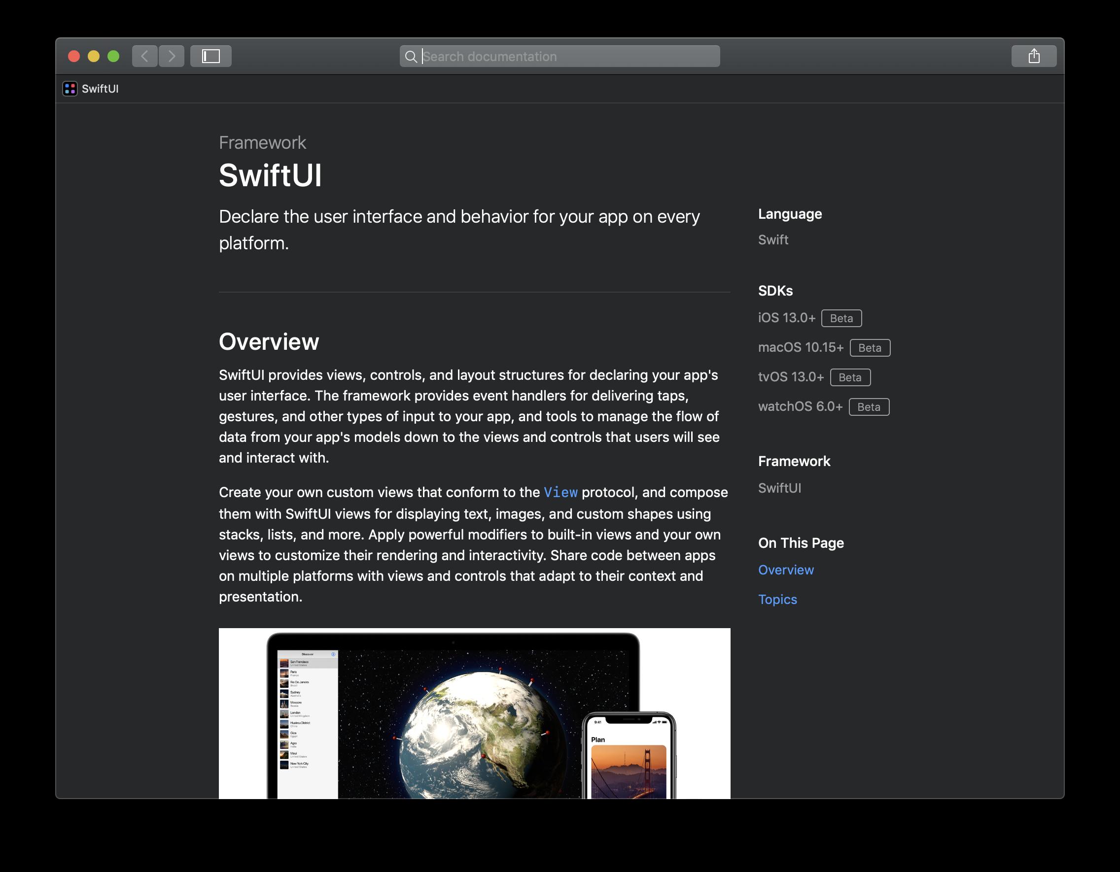 Das neue SwiftUI-Framework steht ausschließlich in den kommenden Versionen von iOS und Co. zur Verfügung.