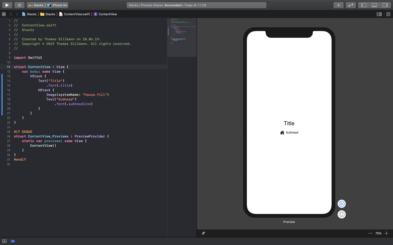Eine Stack-View inklusive Code und Preview.
