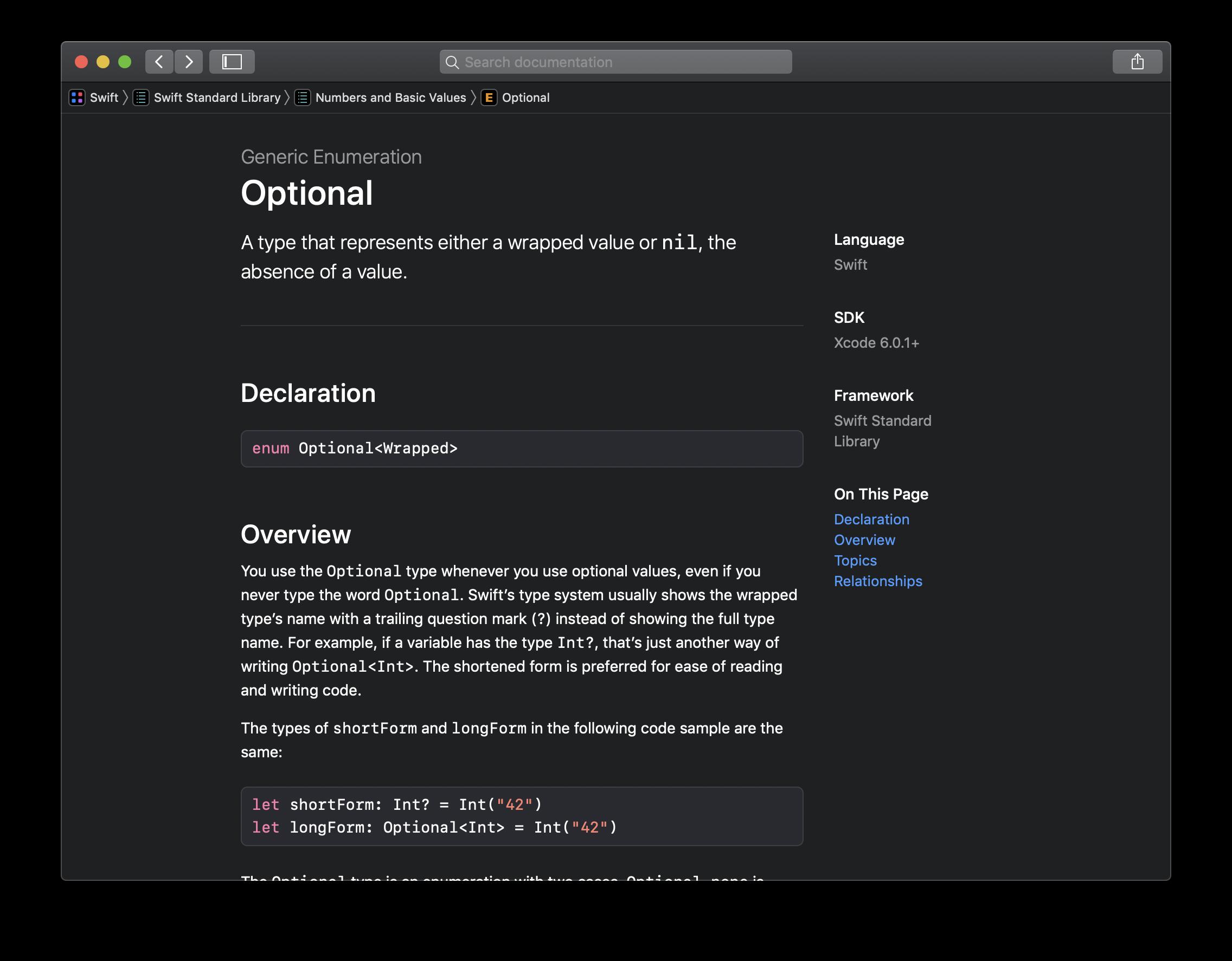 """Bei """"Optional"""" handelt es sich um eine Generic Enumeration aus der Swift Standard Library."""