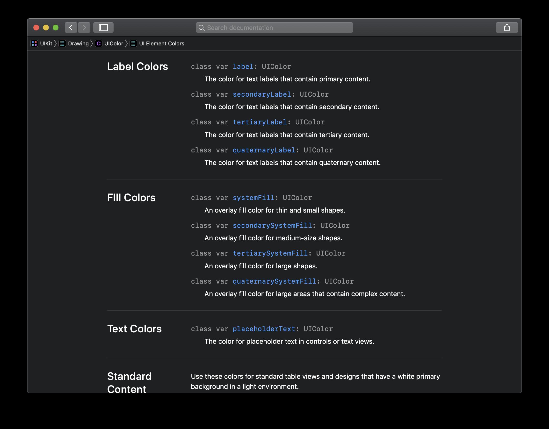 Die Dokumentation zu Dynamic Colors liefert statt einer exakten Farbangabe eine Beschreibung und nennt den typischen Einsatzzweck.
