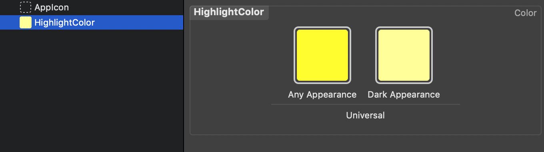 Mithilfe von Asset Catalogs können sich eigene Dynamic Colors erstellen lassen, die über zwei unterschiedliche Farben für den Light und Dark Mode verfügen.