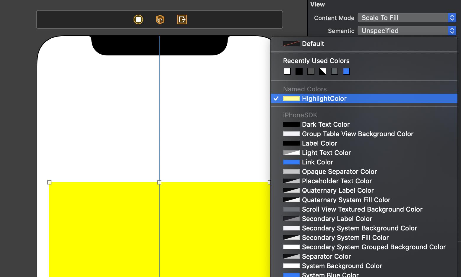 """Die eigens kreierten Color Sets aus Asset Catalogs werden im Interface Builder im Bereich """"Named Colors"""" aufgeführt."""