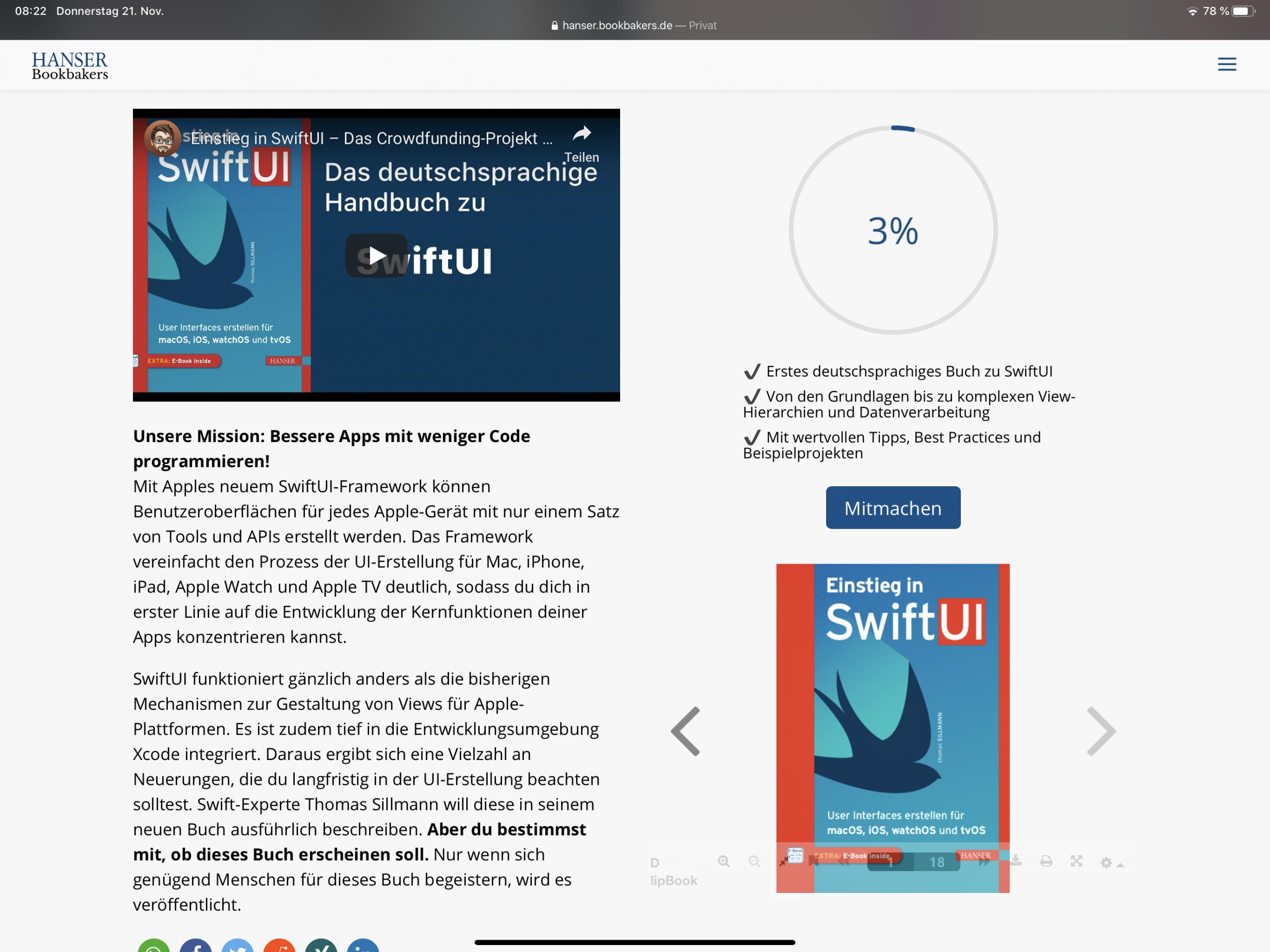 Das Crowdfunding-Projekt zum SwiftUI-Buch bei Bookbakers.