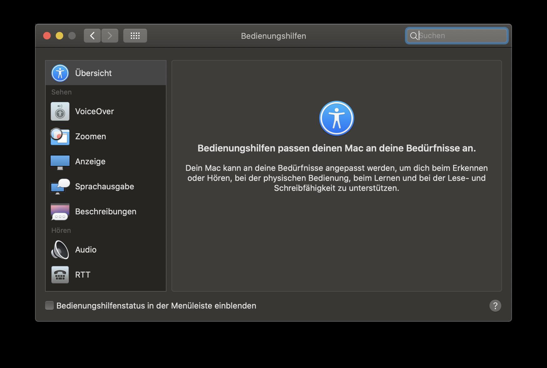 Die Bedienungshilfen sind fester Bestandteil der Plattformen von Apple (hier zu sehen unter macOS).