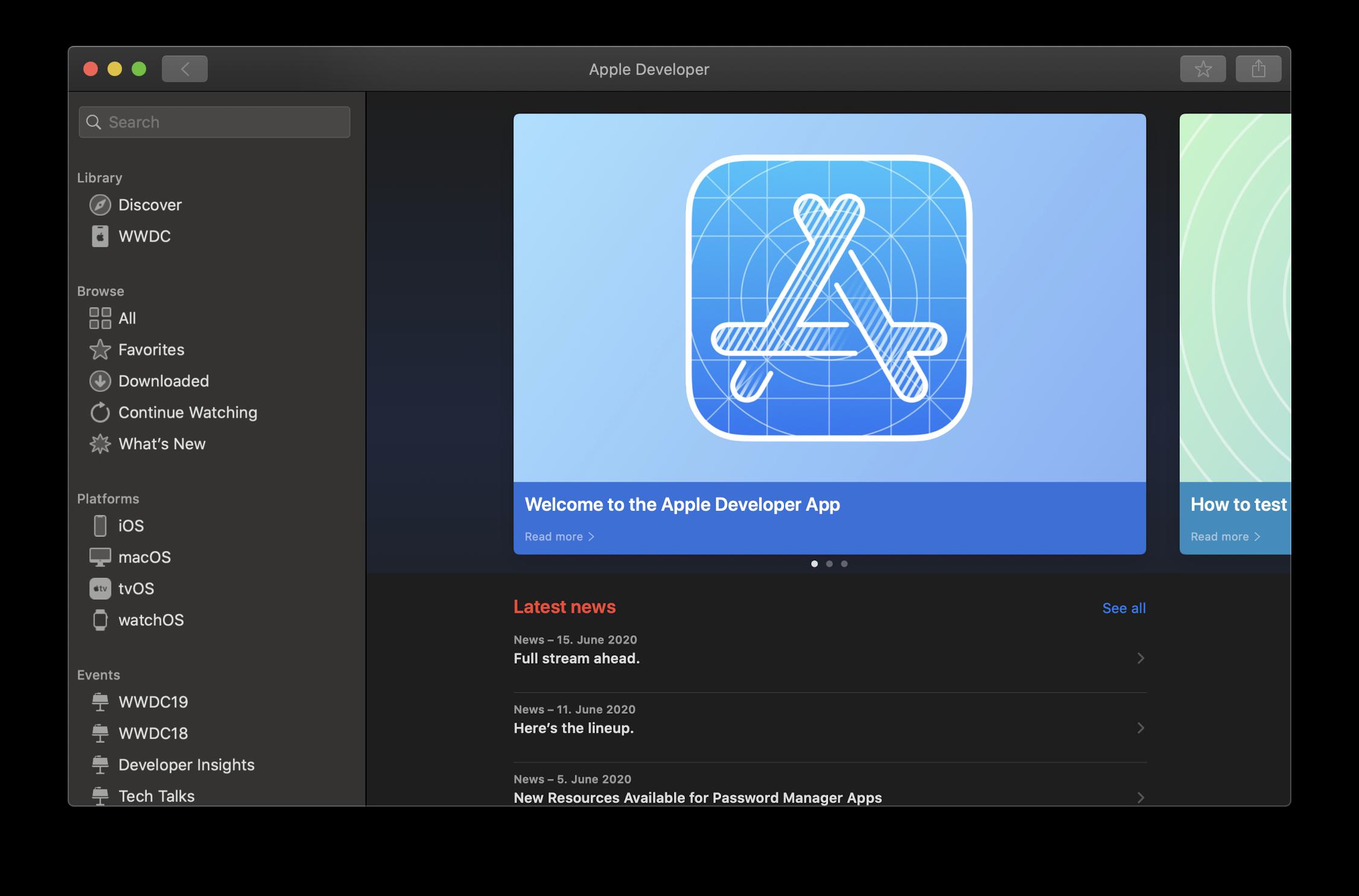 Apples Developer-App gibt es jetzt auch für macOS – ein in meinen Augen gutes Zeichen für Catalyst und SwiftUI.