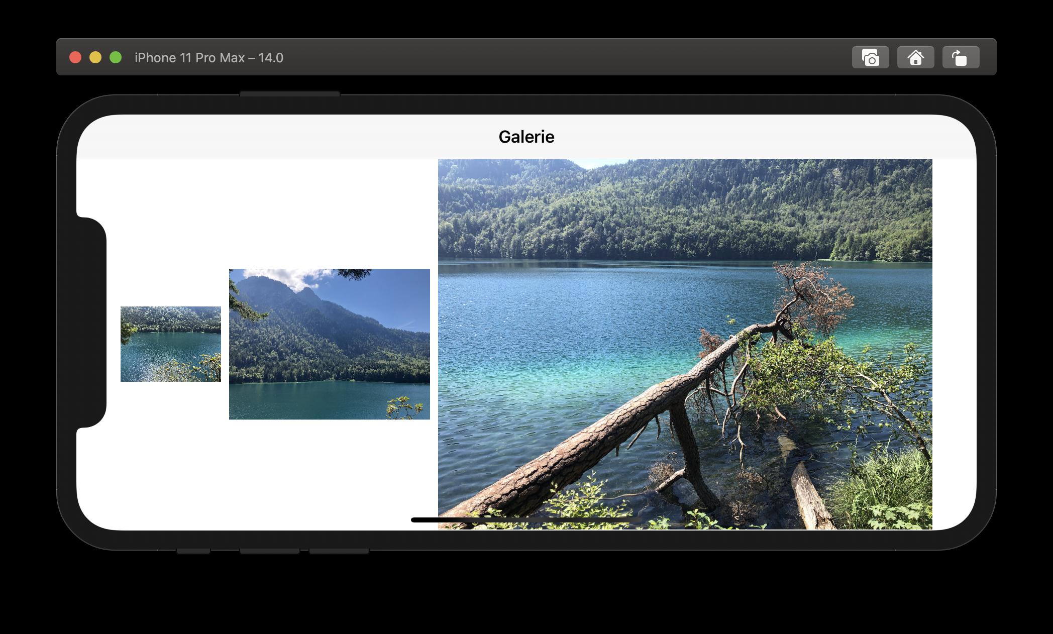Die Größe der Grid-Items passt sich den Anforderungen sowie dem verfügbaren Display-Platz an.