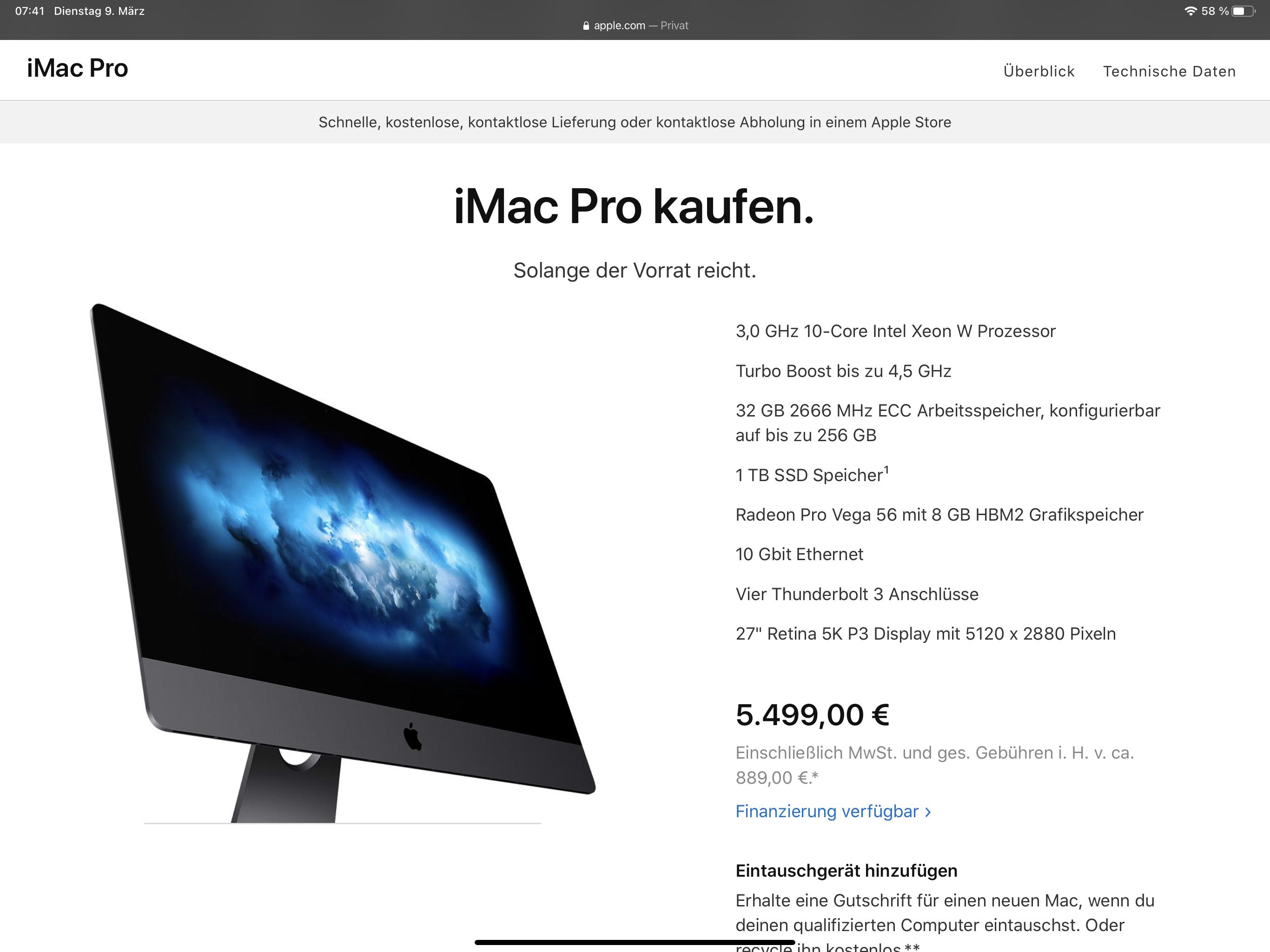In Apples Online-Store gibt es nur noch Restbestände des iMac Pro in der Standardkonfiguration zu kaufen.