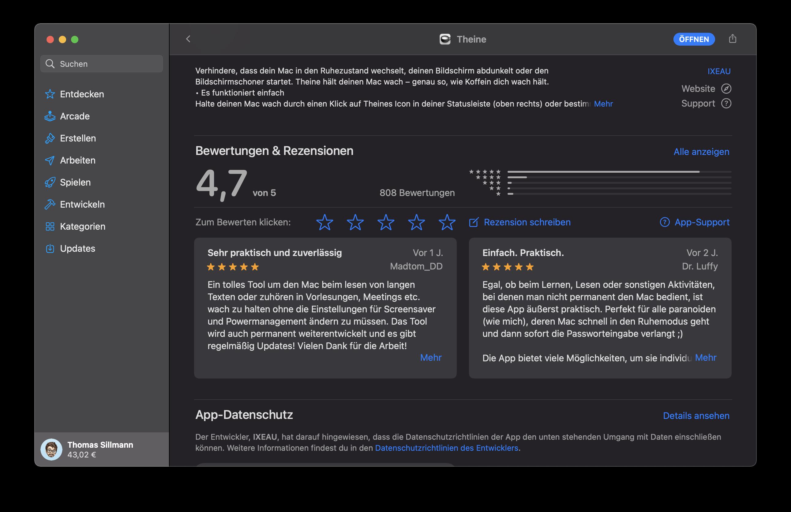 Die Rezensionen im Mac App Store bestätigen, dass noch mehr Nutzer eine App wie Theine sehr zu schätzen wissen.